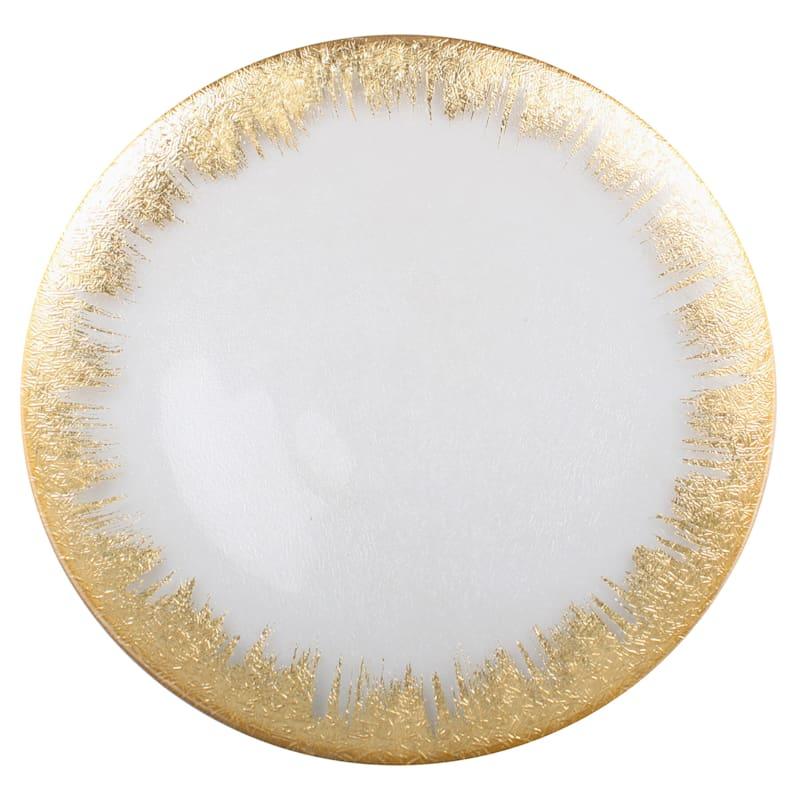 Prosecco Gold Foil Rim Glass Platter