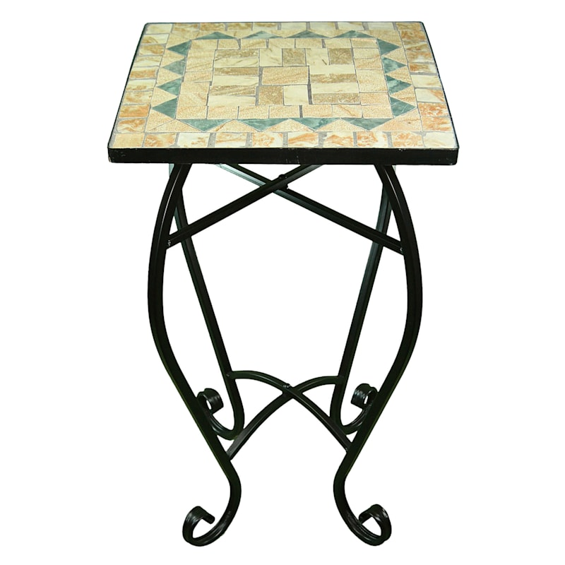 Square Tan Mosaic Plant Stand With Metal Base