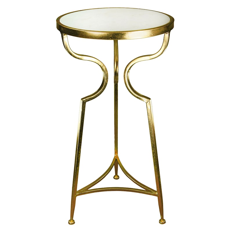 """Round Marble Top Plant Stand With Gold Metal Base, 25"""""""