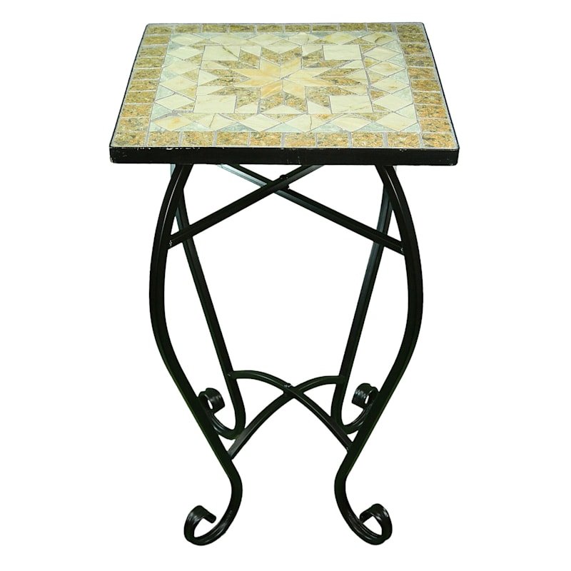 Square Mosaic Plant Stand With Metal Base Neutral