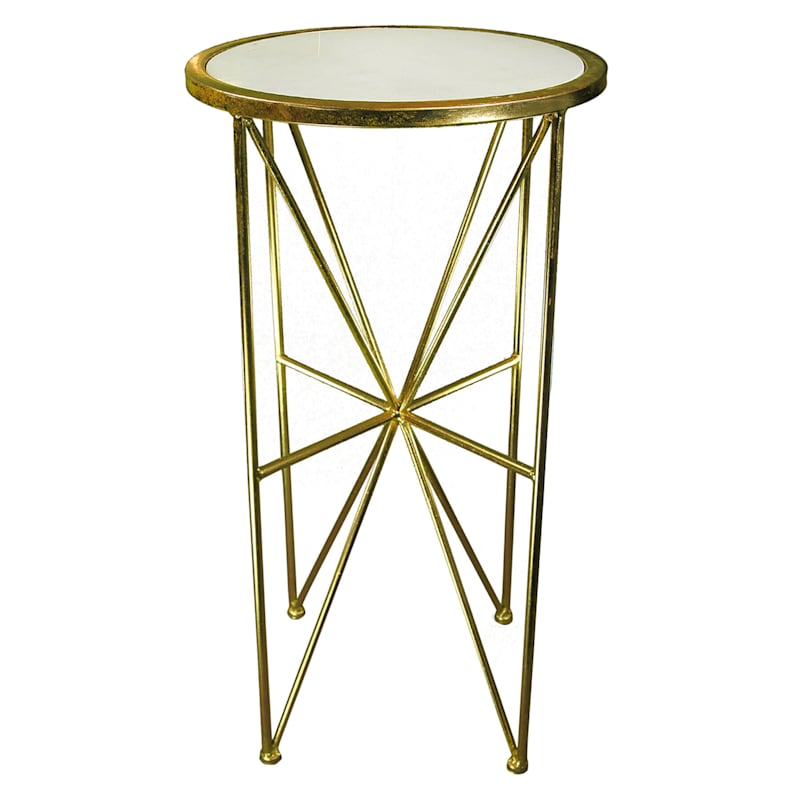 """Round Marble Top Plant Stand With Gold Metal Base, 26"""""""