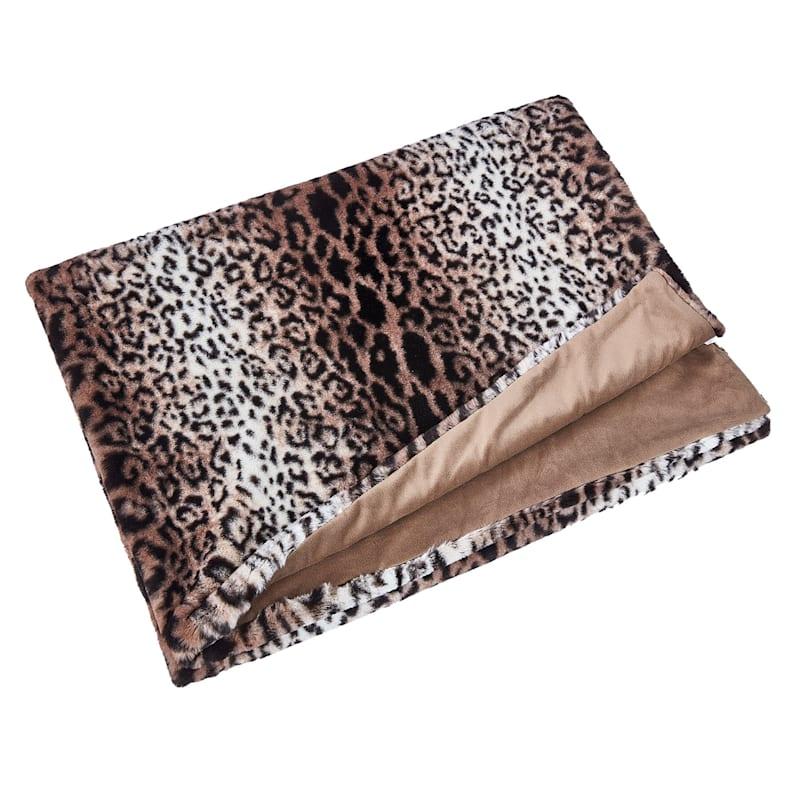 Faux Leopard Print Throw