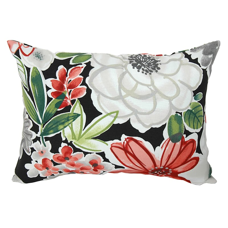 Tamani Black Floral Outdoor Oblong Pillow, 12x16