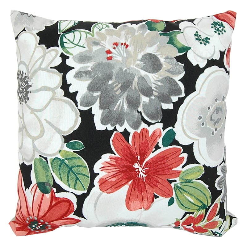 """Tamani Black Floral Outdoor Square Pillow, 16"""""""