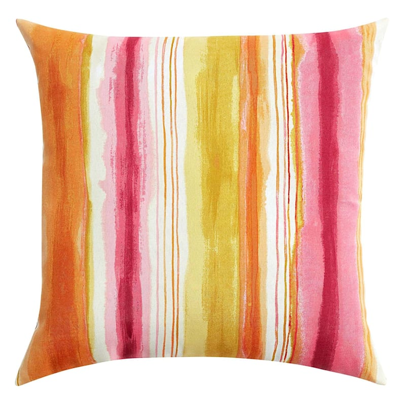 Sunrise Ombre Stripe Outdoor Square Pillow, 20""