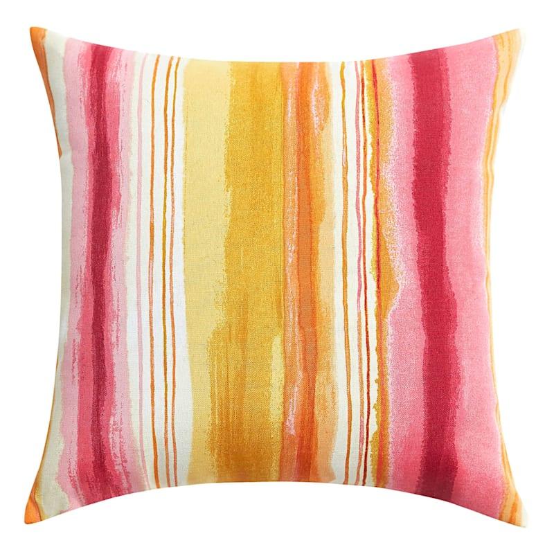 "Sunrise Ombre Stripe Outdoor Square Pillow, 16"""