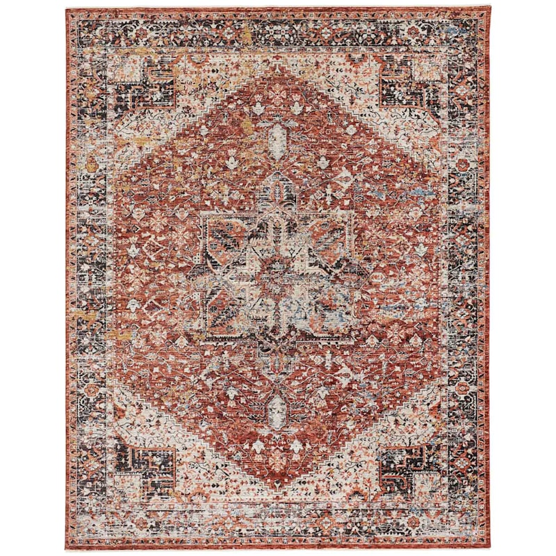 (A447) Capstone Rust Traditional Design Area Rug, 5x7