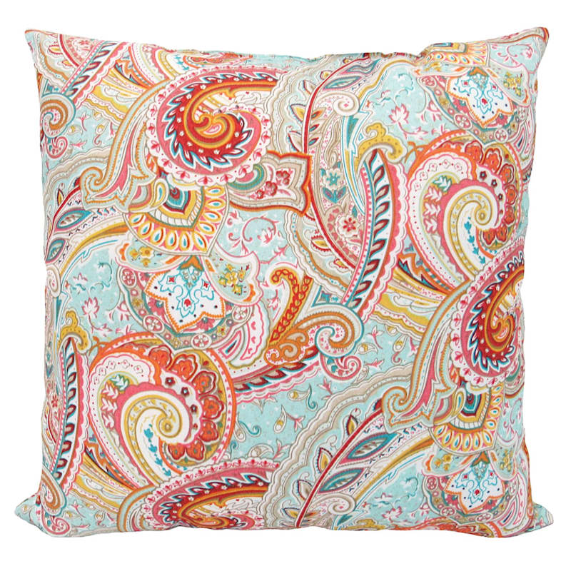 """Paisley Multi Outdoor Square Pillow, 20"""""""