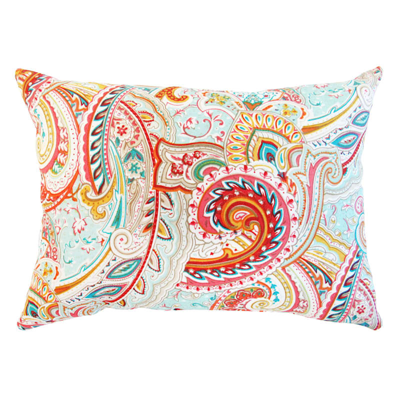 Paisley Multi Outdoor Oblong Pillow, 12x16