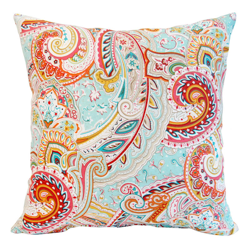 Paisley Multi Outdoor Square Pillow, 16""