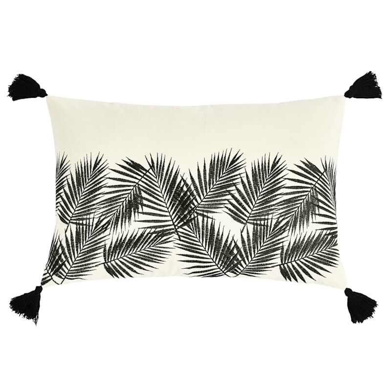 Natural Black Embroidered Palm Leaf Pillow 13x20 At Home