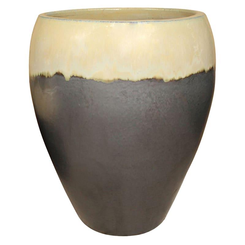 Arcadia Urn Ceramic Planter 16.9in. Cream Matte Black