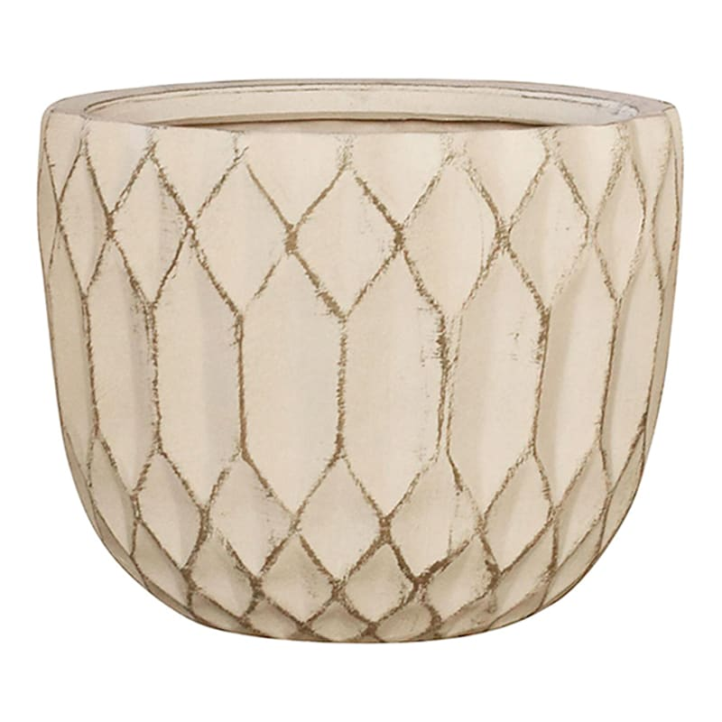8in. Indoor Ceramic Round Pot Geometric Design White Wash Finish