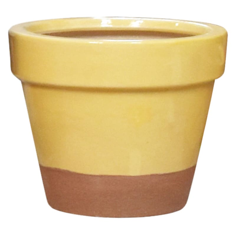 "Yellow Ceramic Pot, 6.3"""