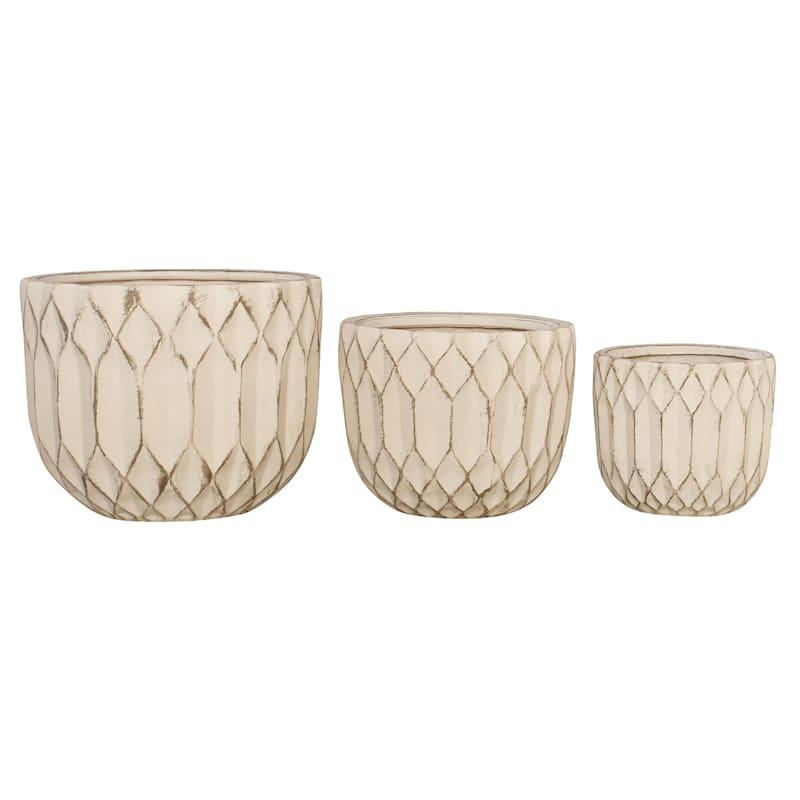 12in. Indoor Ceramic Round Pot Geometric Design White Wash Finish