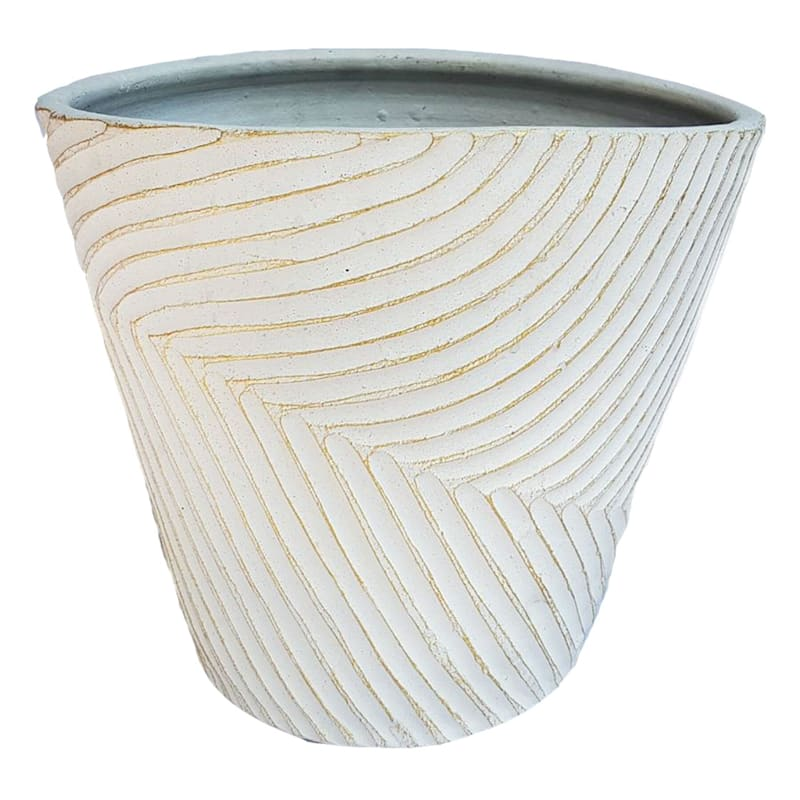 13.75 INCH WHITE GOLD PLANTER-