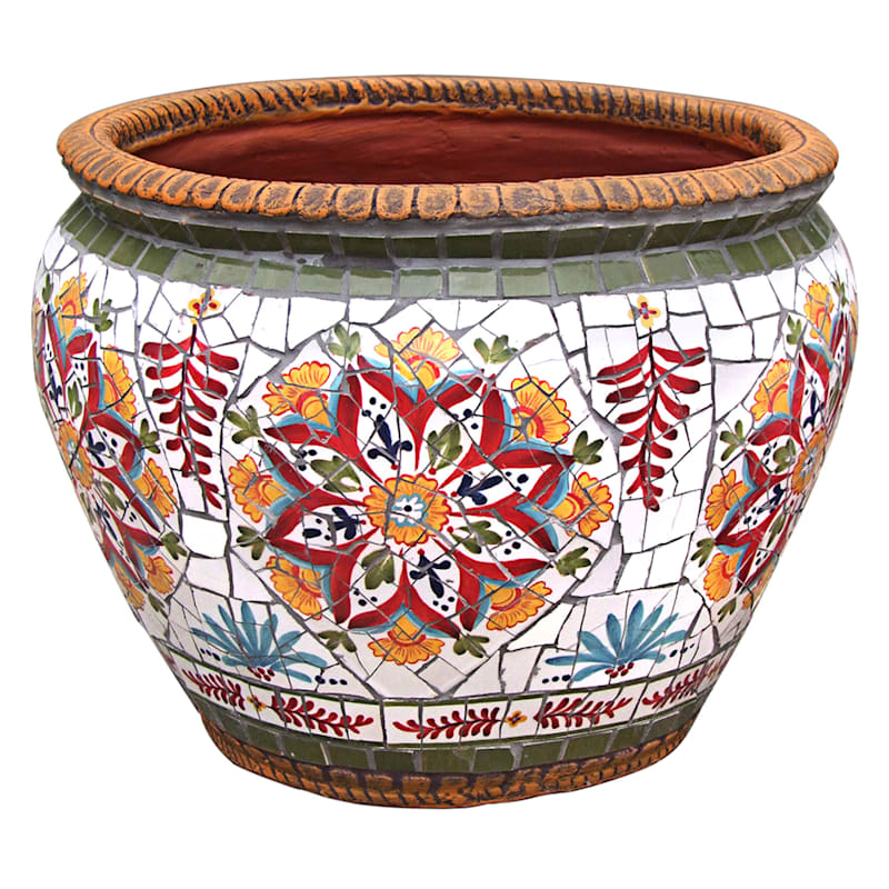19.5in. Provence Mosaic Round Planter