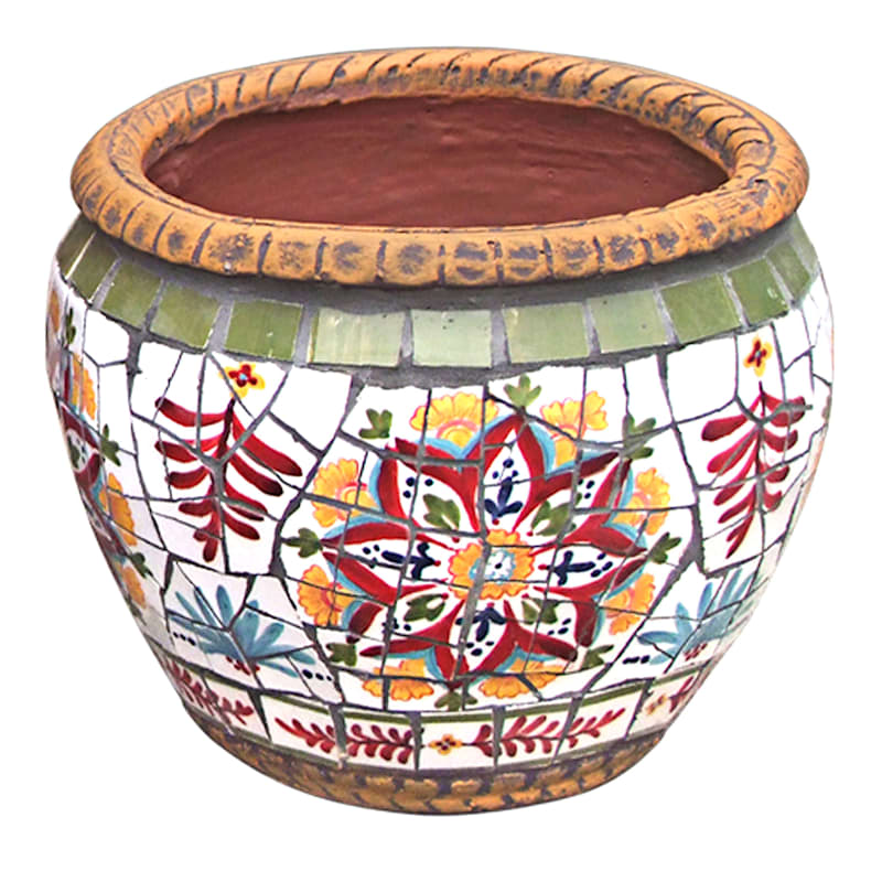 9.5in. Provence Mosaic Round Planter