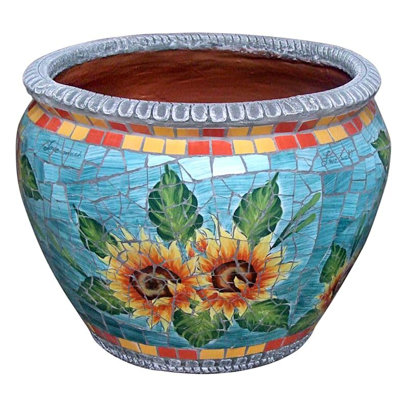 19.5in. Sunflower Mosaic Round Planter