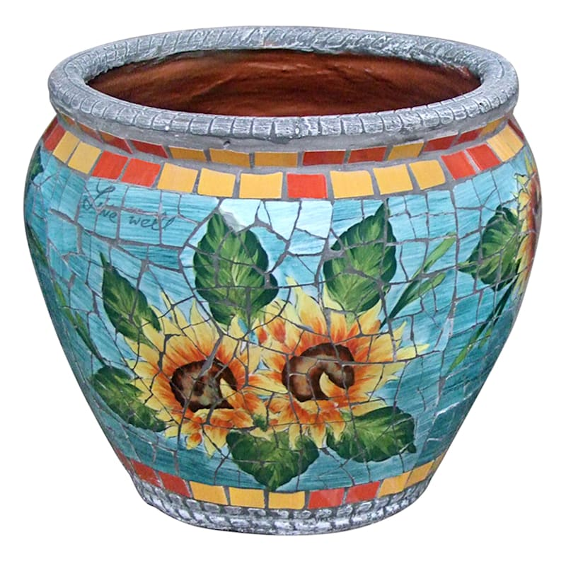 14.5in. Sunflower Mosaic Round Planter