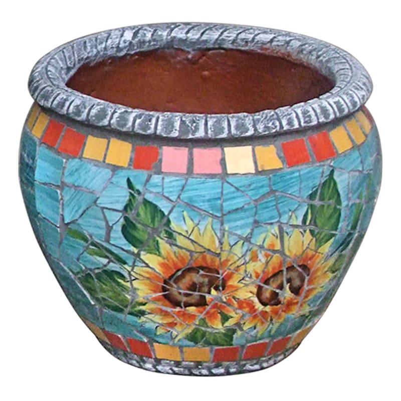 9.5in. Sunflower Mosaic Round Planter