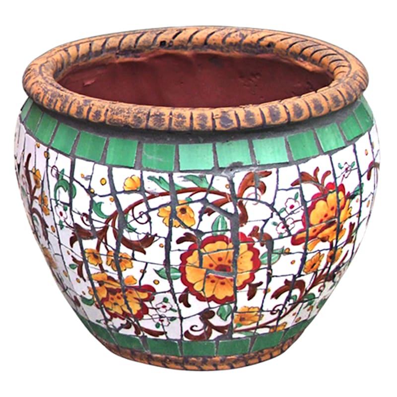 9.5in. Tuscan Mosaic Round Planter