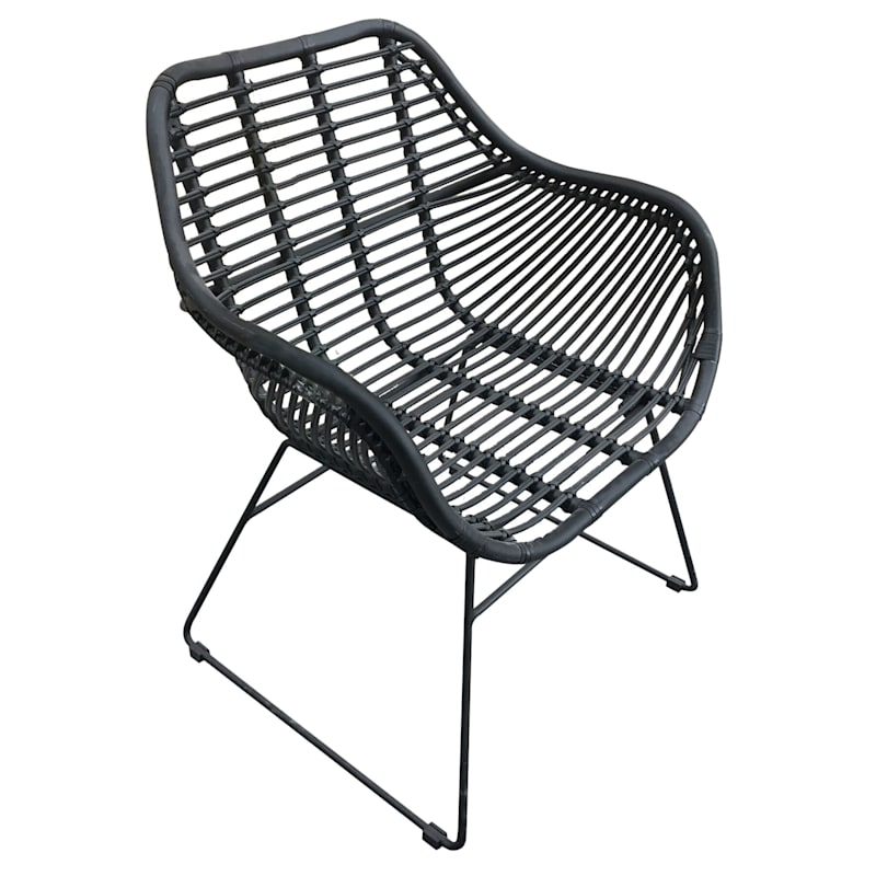 Wates Black All Weathered Wicker Outdoor Chair With Steel Frame