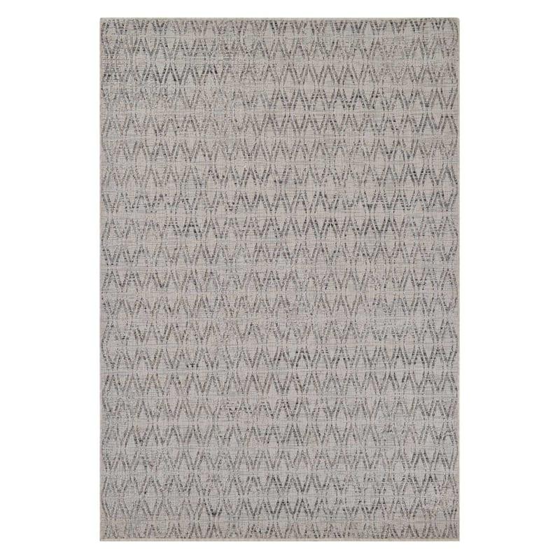 (E250) Ivory, Sand & Grey Sisal Look Outdoor Geometric Design, 2x4