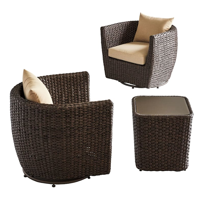 St. Lucia Wicker Patio Swivel Lounge Chair with Cushions, Brown