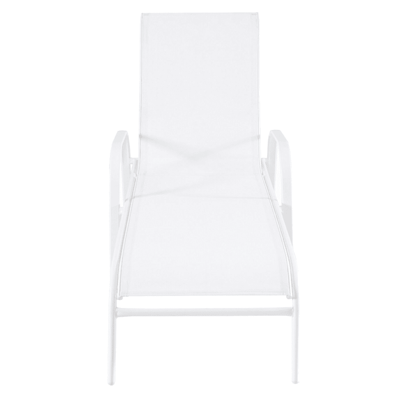 Outdoor Steel Sling Chaise Lounge White/White Frame