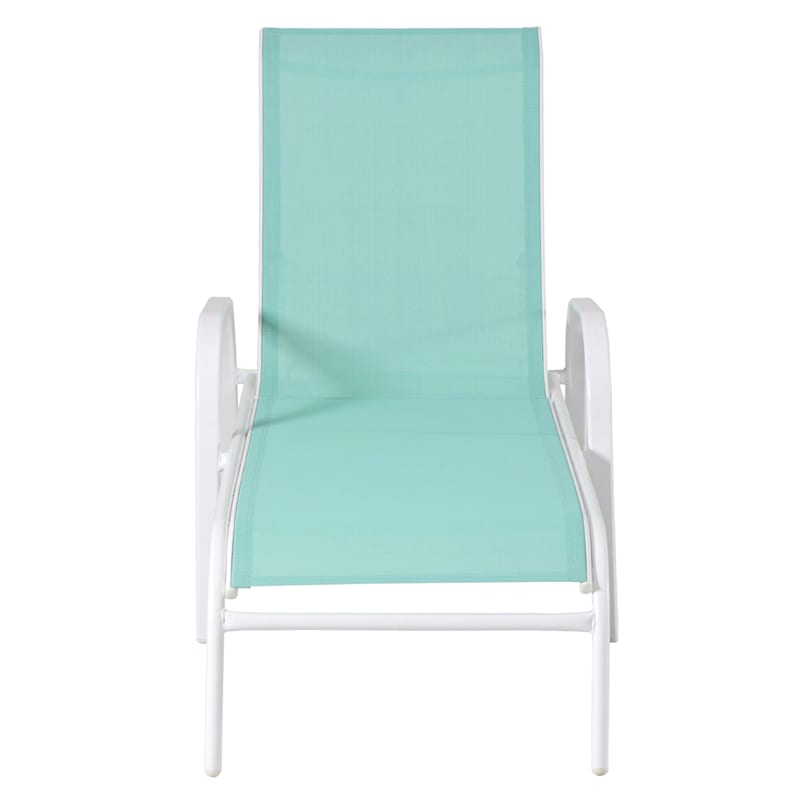 Steel-Frame Stackable Sling Chaise Lounge, Aqua/White
