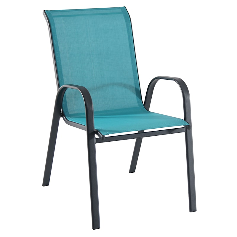 Stackable Sling Chair with Steel Frame, Teal/Black