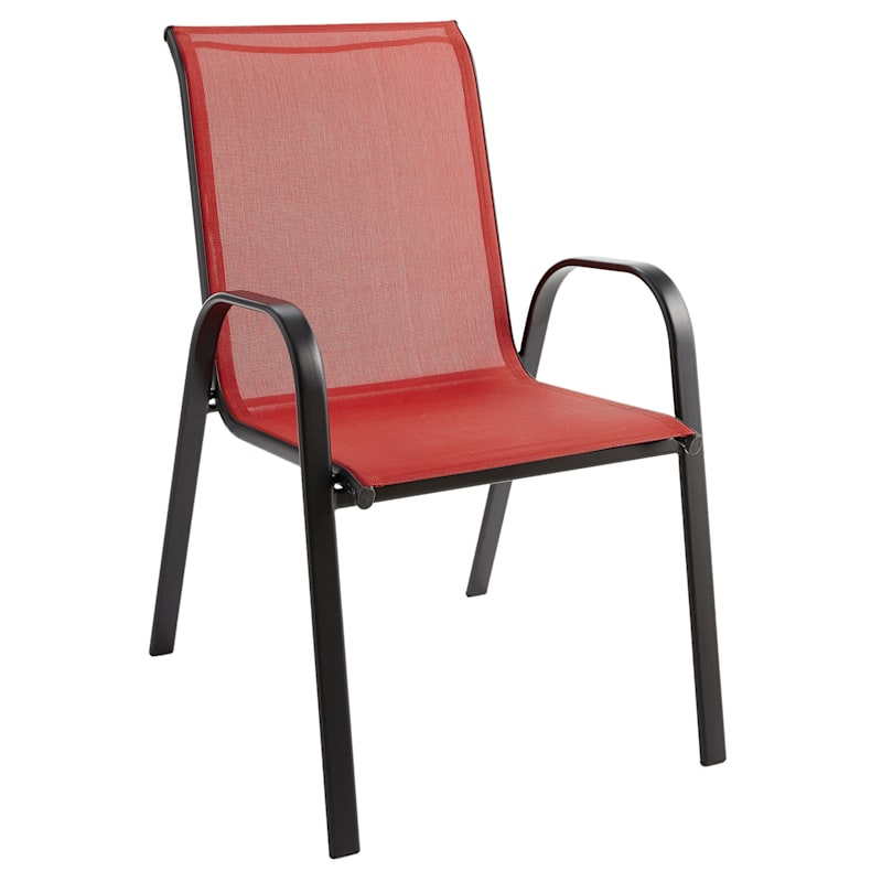 Red Outdoor Steel Sling Stacking Chair