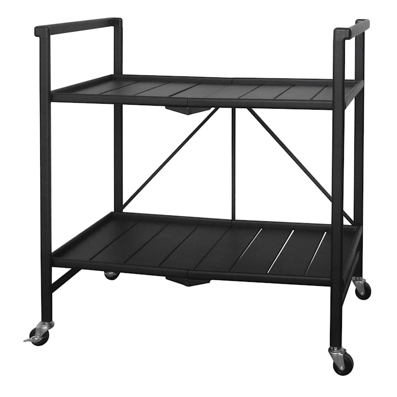 Grammercy Black Steel Collapsible Bar Cart