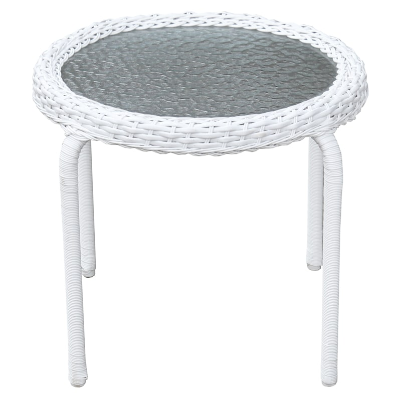 Outdoor Wicker Tempered Glass Top End Table, White