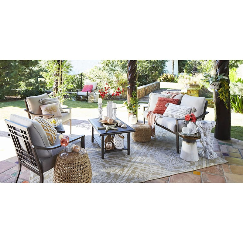 Avalon Outdoor Steel Loveseat with Cushions