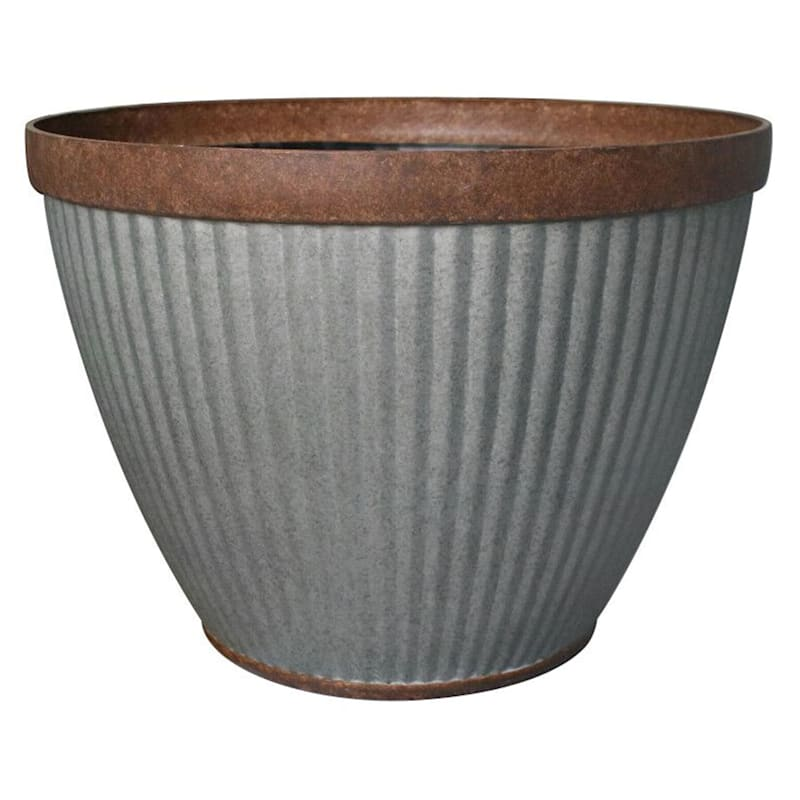 10in. Resin Westlake Round Planter Galvanize