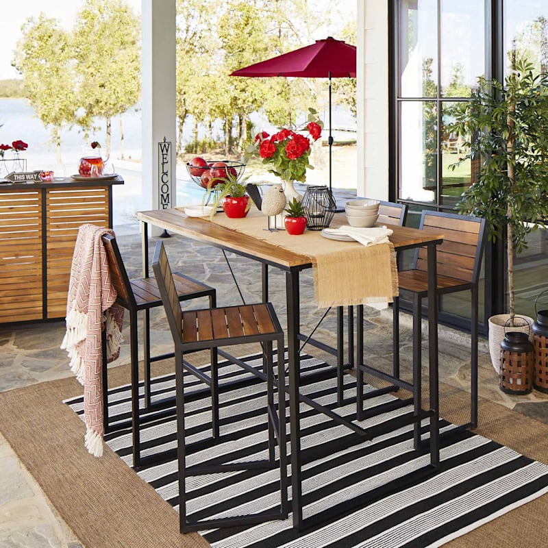 Oliver Outdoor Acacia Wood Bench & Steel