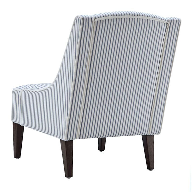 Kayson Blue Striped Upholstered Accent Chair