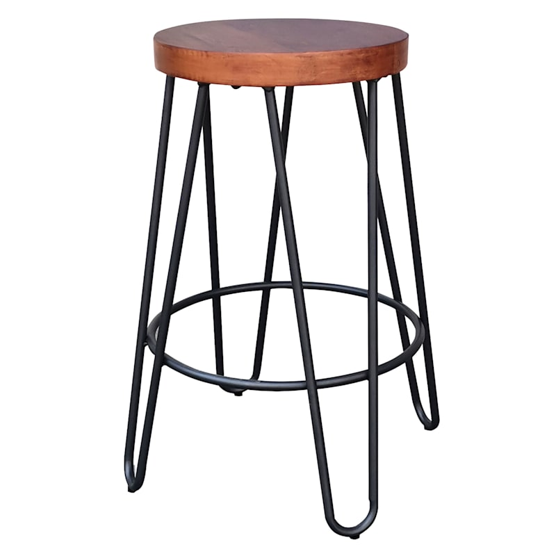 Bristol Wooden Seat Backless Counter Stool With Metal Base