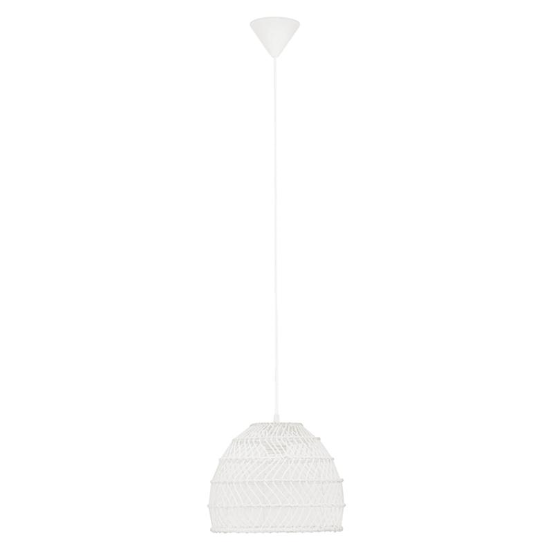 11X9 White Wicker Pendant
