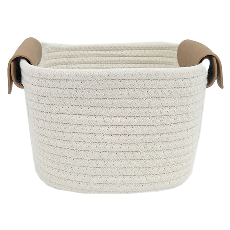 8X8X5 White Square Rope Basket/Leather Handle