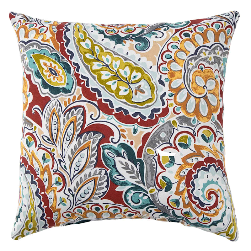 """Paisley Chili Outdoor  Square Pillow, 16"""""""