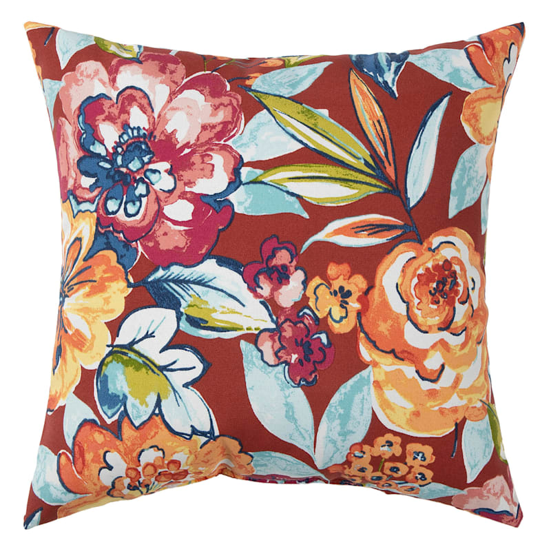 Floral Calypso Outdoor  Square Pillow, 16""