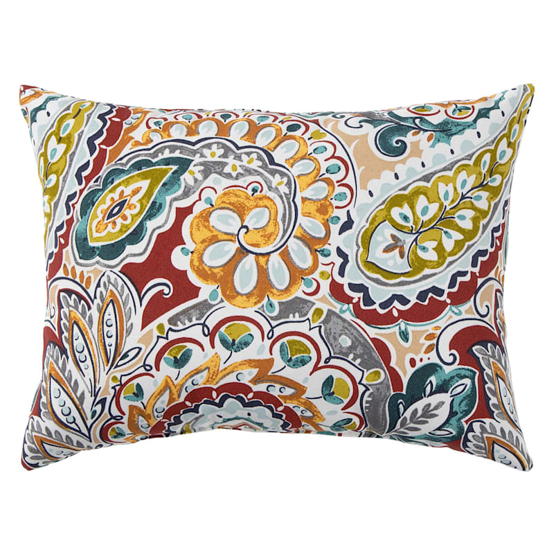 Paisley Chili Outdoor Oblong Pillow, 12x16