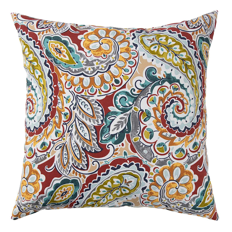 """Paisley Chili Outdoor Square Pillow, 20"""""""