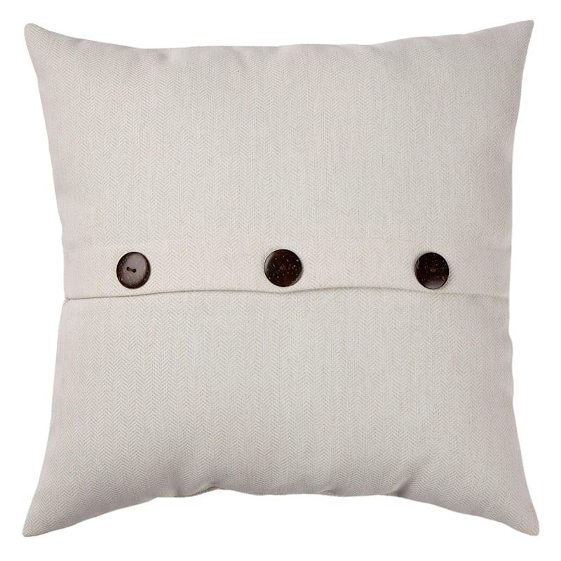 Tristin Heathered White Outdoor Premium 18in. Square Button Pillow