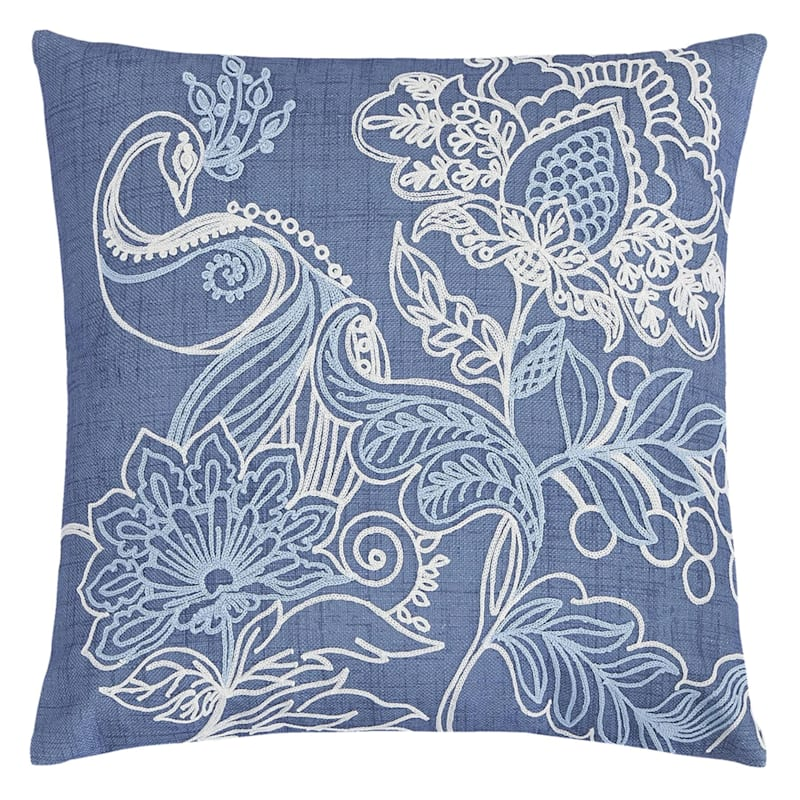 "Embroidered Peacock Throw Pillow, 18"" x 18"", Light Blue"