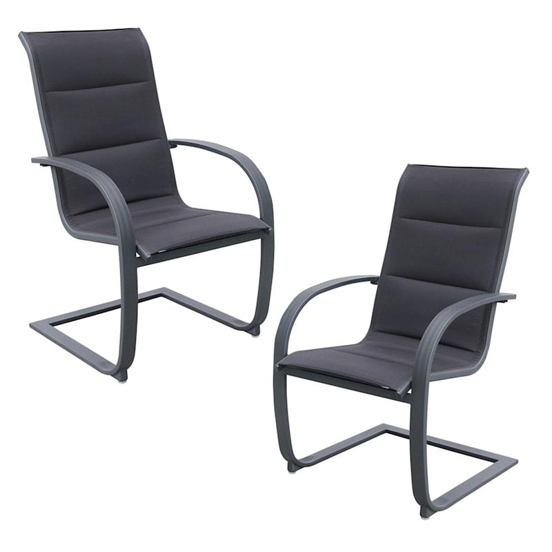 Elliott Black Outdoor Padded Sling Chairs 2-Pack