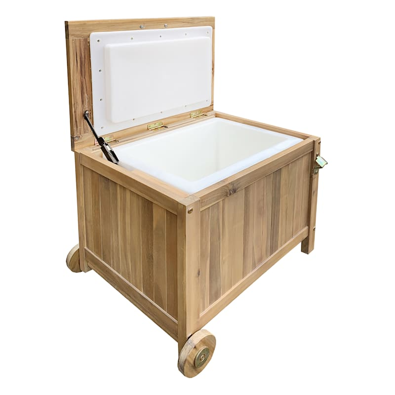 Park City Outdoor Wood Drink Cooler with Wheels